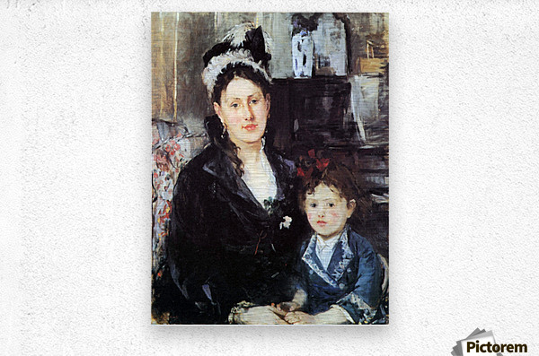 Portrait of Mme Boursier and Daughter by Morisot  Metal print
