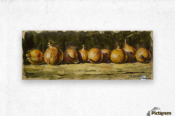 Kitchen Still Life with golden bow  Metal print