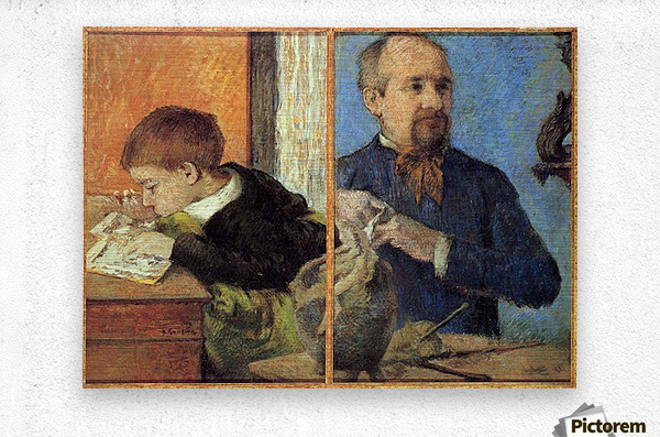 Portrait of Sculptor with Son by Gauguin  Metal print