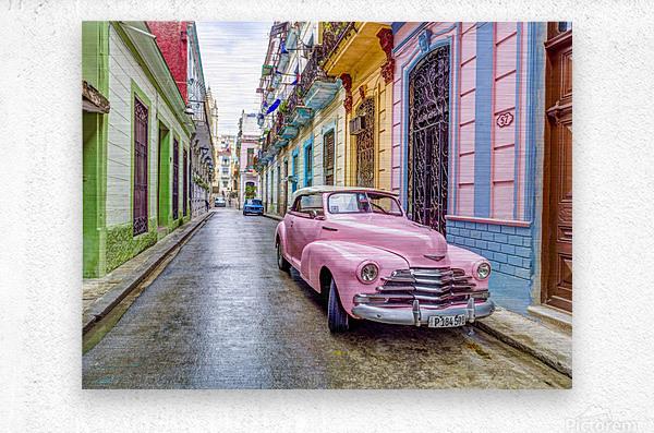 Vintage car on street of Havana, Cuba  Metal print