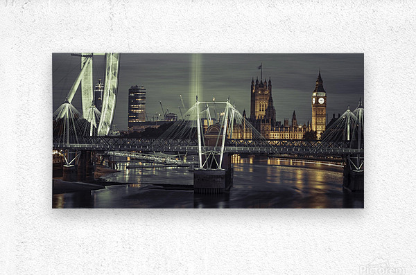 Night view of the London Eye, Golden Jubilee bridge and Westminster, London, UK  Metal print