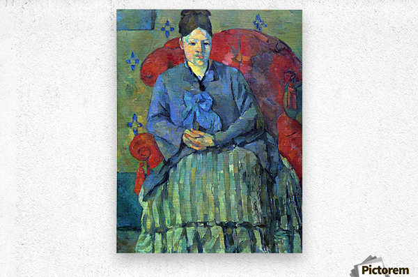 Potrait of Mme Cezanne in Red Armchair by Cezanne  Metal print
