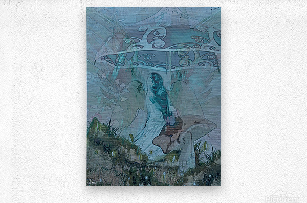 Whispers of the Misty Garden  Metal print