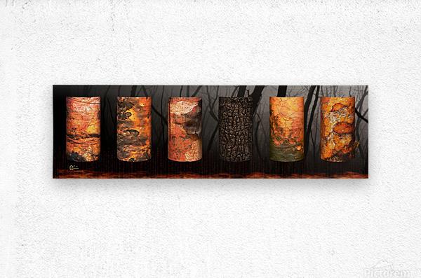 tree bark aBlaze  Metal print