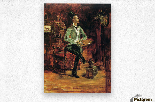 Princeteau in his studio by Toulouse-Lautrec  Metal print