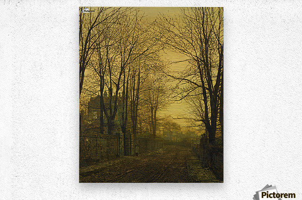 Autumn view with figure  Metal print