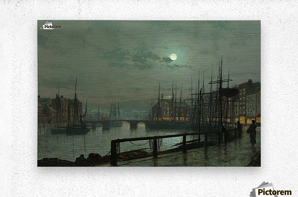 Whitby by moonlight  Metal print