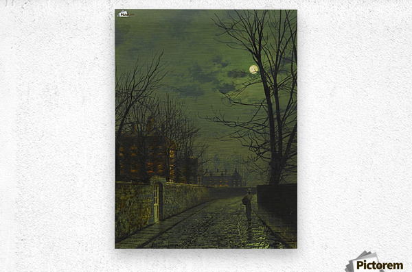 A moonlit street after rain  Metal print