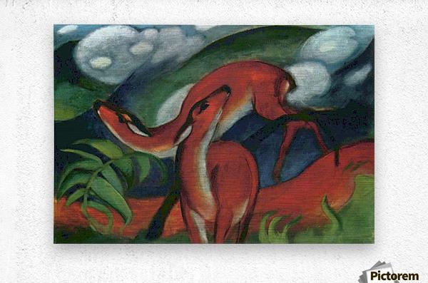 Red Deer II by Franz Marc  Metal print