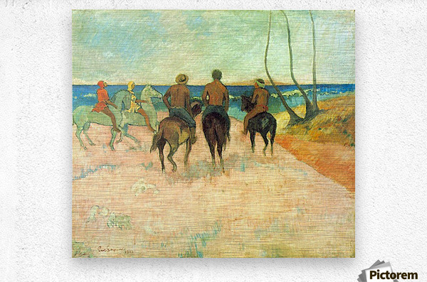 Riding on the Beach 2 by Gauguin  Metal print