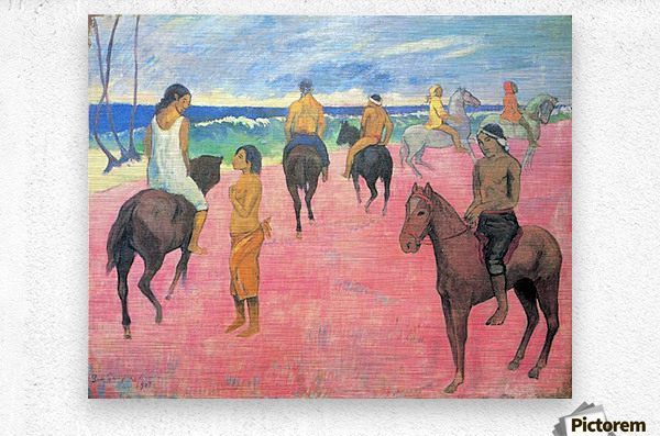 Riding on the beach by Gauguin  Metal print