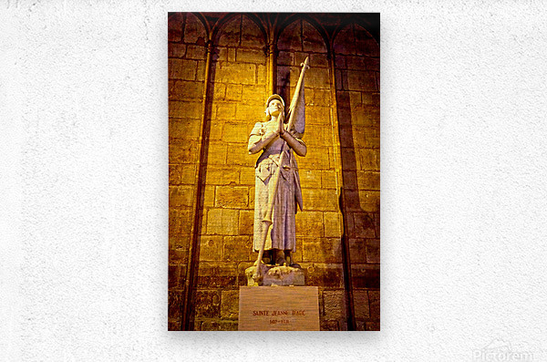 Jeanne d Arc and Saint Croix Cathedral at Orleans   France 4 of 7  Metal print