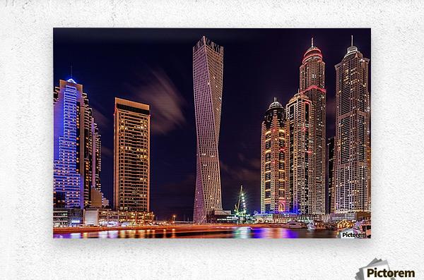 Dubai Marina Night Shot  Metal print