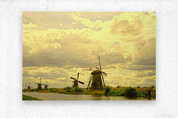 Windmills at Sunset - Netherlands  Metal print