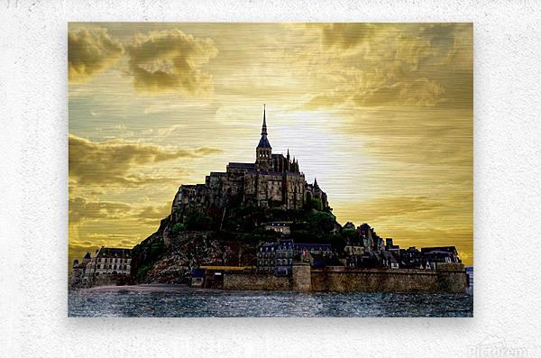 Golden Mont St Michel - Normandy France  Metal print