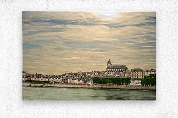 Cathedrale Saint Louis Across the Loire - Sunset France  Metal print