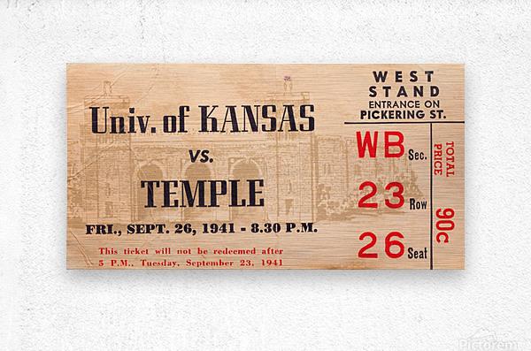 1941 Temple vs. Kansas  Metal print