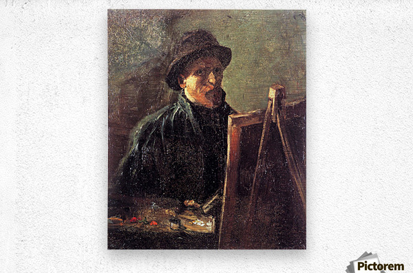 Self-Portrait with Dark Felt Hat at the Easel by Van Gogh  Metal print
