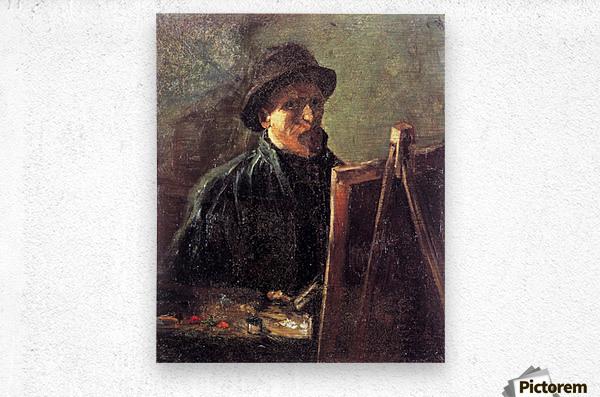Self-Portrait with Dark Felt Hat at the Easel by Van Gogh  Metal print