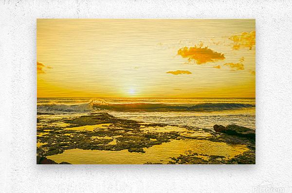 Golden Moment - Sunset Hawaiian Islands  Metal print