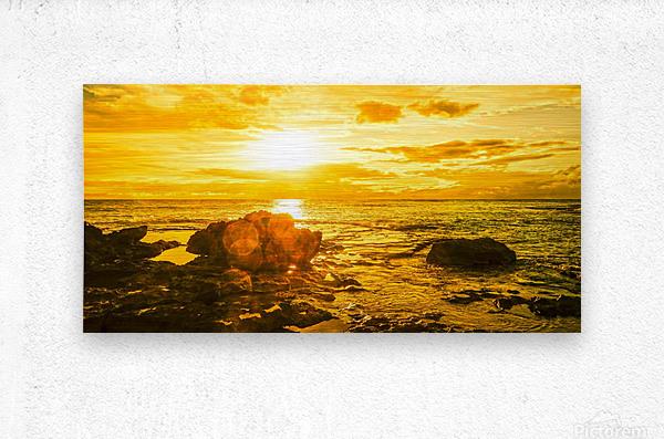 Majestic Sunset Panorama - Sunset Hawaiian Islands  Metal print