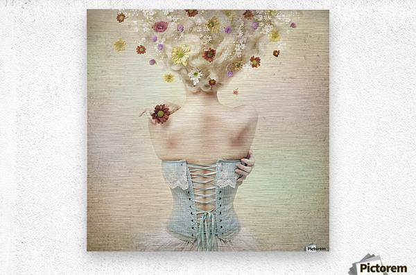 Girl of the flower garden  Metal print