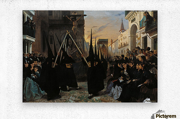 A Confraternity in Procession along Calle Genova  Metal print