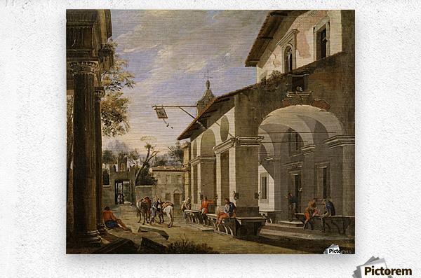 Courtyard of an Inn with Classical Ruins  Metal print