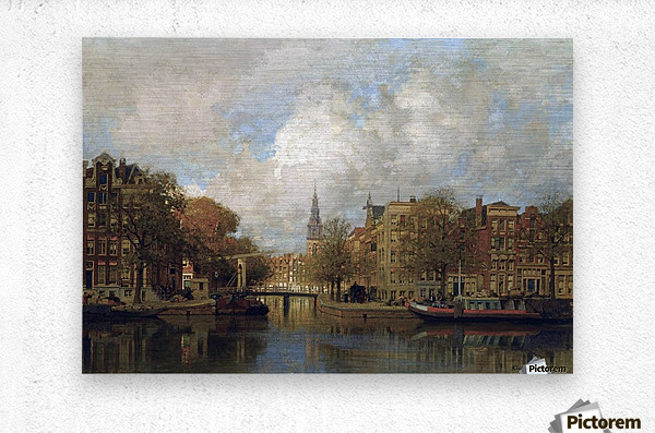 A View of the Groenburgwal with the Zuiderkerk, seen from the River Amstel, Amsterdam  Metal print