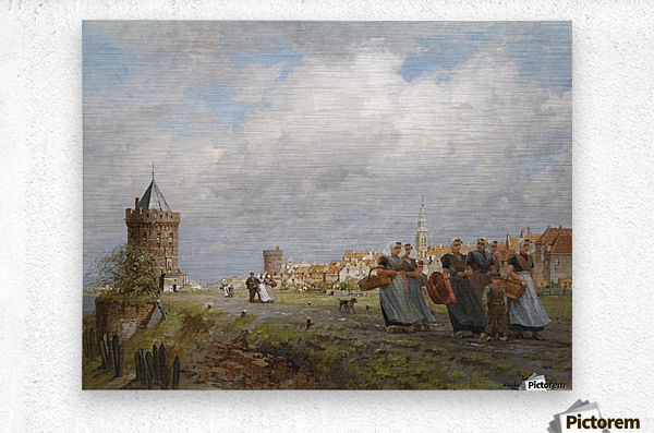 Arnemuiden Fisherwomen returning from the Market in Vlissingen  Metal print