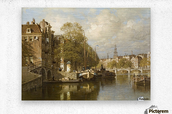 A View on the Amstel, with the Blauwbrug and the Zuiderkerk, Amsterdam  Metal print