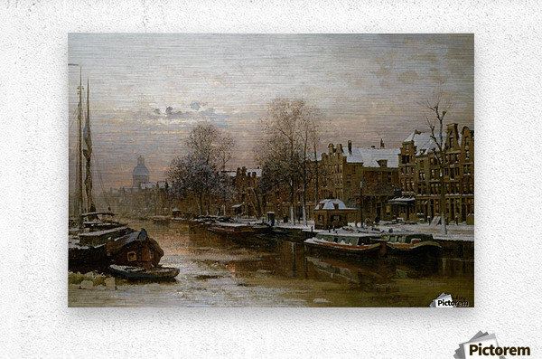 Snow covered barges  Metal print