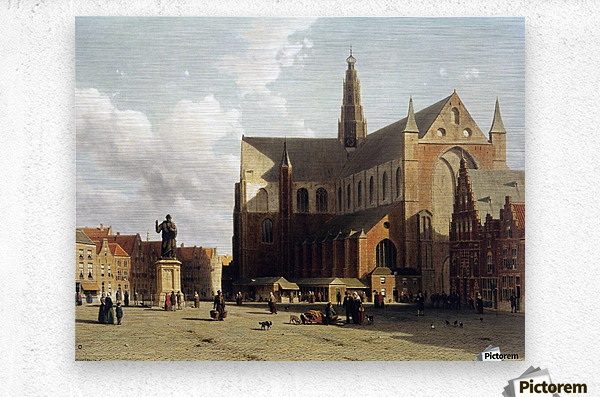 View of the Grote Markt, Haarlem, with numerous townsfolk strolling along the statue of Laurens Jansz  Metal print