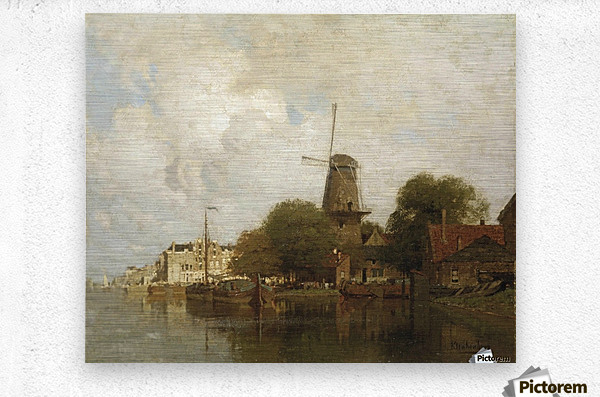 A windmill along the river Amstel, Amsterdam  Metal print