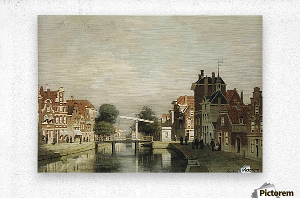 A sunlit canal with a draw-bridge  Metal print