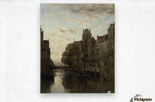 A View of the Voorstraathaven with the Grote Kerk Beyond, Dordrecht  Metal print
