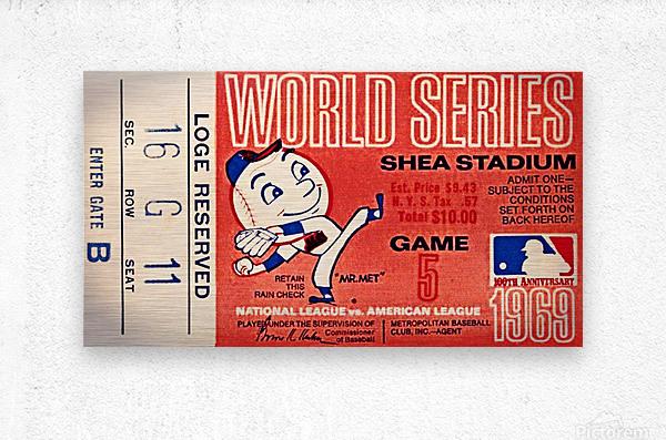 1969 New York Mets Game 5 Ticket Art  Metal print