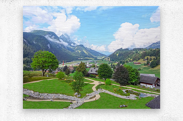 The  Saane valley in Switzerland Surrounded by the Alps  Metal print