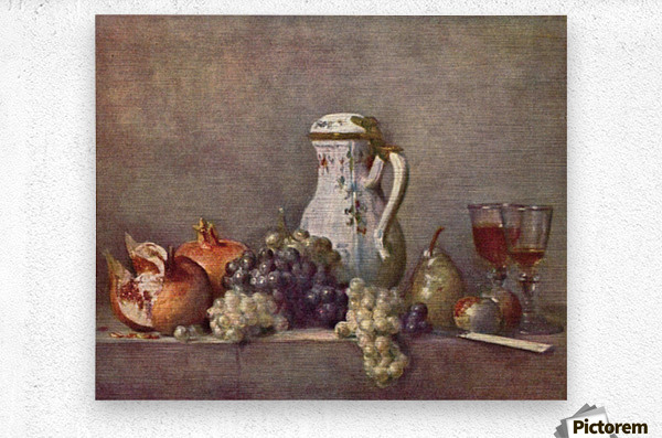 Still life with porcelain jug by Jean Chardin  Metal print