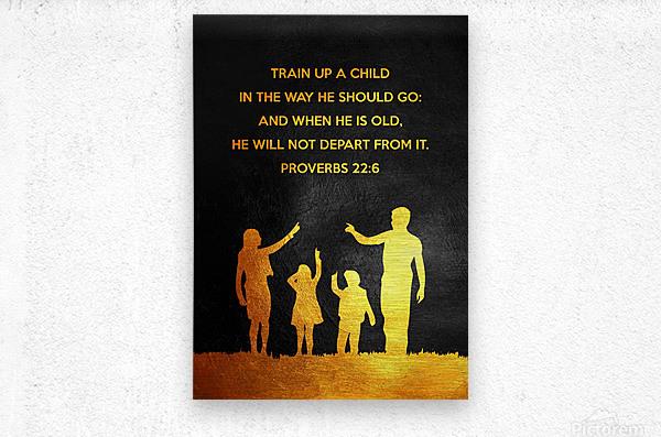 Proverbs 22:6 Bible Verse Wall Art  Metal print