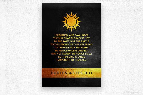Ecclesiastes 9:11 Bible Verse Wall Art  Metal print