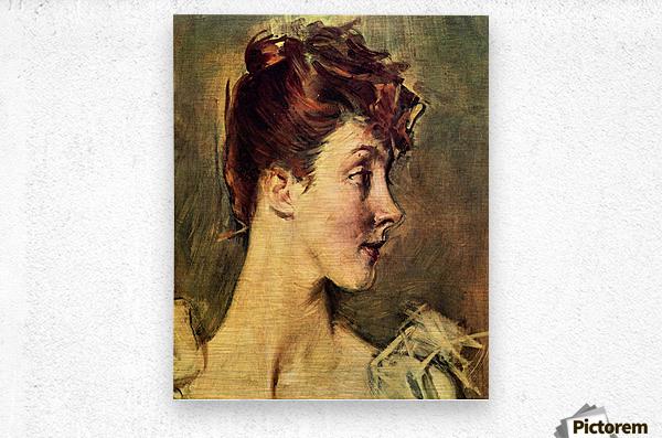 Portrait of Countess de Leusse, detail by Giovanni Boldini  Metal print