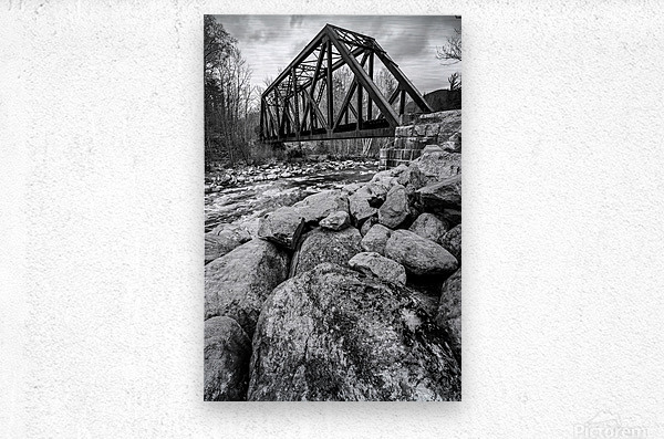 Train Bridge ap 2225 B&W  Metal print