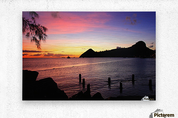 Sunset looking at Pigeon Island  Metal print