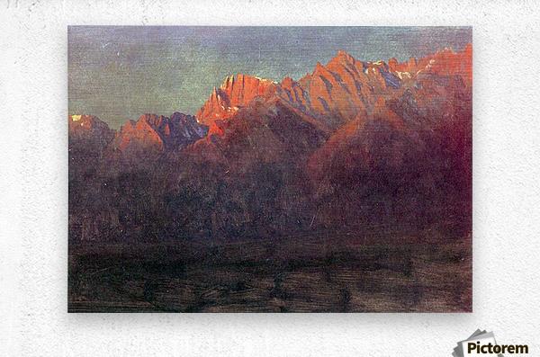 Sunrise in the Sierras by Bierstadt  Metal print