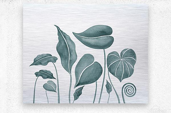 Tropical Leaves Teal Gray Botanical Foliage Watercolor   Metal print