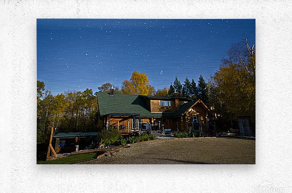 Nightscape Over Log Cabin  Metal print