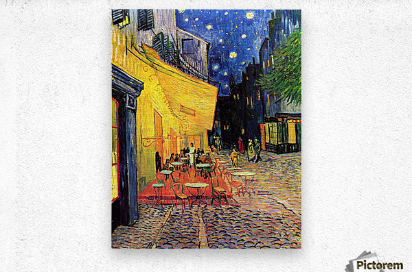 The Cafe Terrace on the Place du Forum Arles at Night by Van Gogh  Metal print