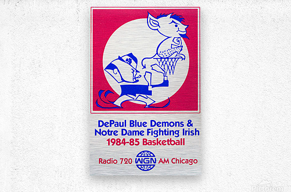 1984 DePaul Notre Dame Basketball WGN Poster  Metal print