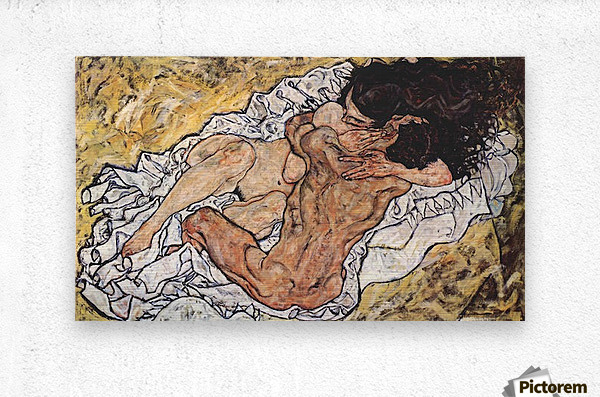 The Embrace by Schiele  Metal print